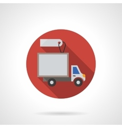 Delivery truck sale round flat color icon vector