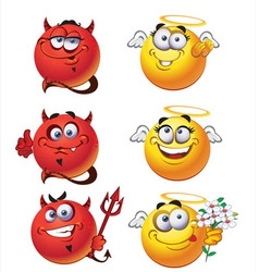 Angels and devils smiles vector image