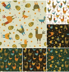 Funny hen seamless backgrounds set vector image