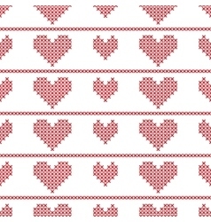 Seamless pattern with embroided hearts on white vector