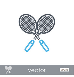 badminton racket outline icon summer vacation vector image