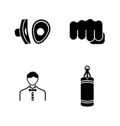 Boxing simple related icons vector