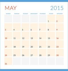 Calendar 2015 flat design template may week starts vector