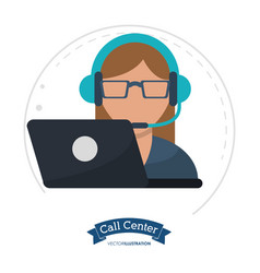 call center woman wearing headphone glasses vector image