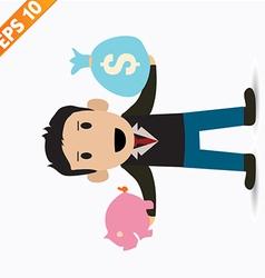Cartoon businessman with financial money - - vector