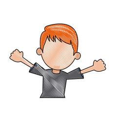 Cartoon young boy student avatar vector