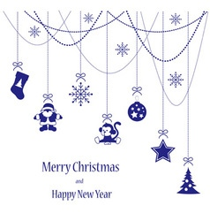 Christmas toys blue card for Merry Christmas vector image vector image