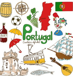Collection of portugal icons vector