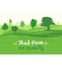 Drawn green background eco vector image
