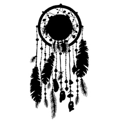 Dream catcher silhouette in isolated on white vector