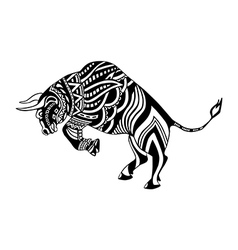 Ethnic patterned ornate decorative bull silhouette vector