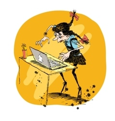 Girl and laptop vector