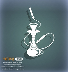 Hookah icon On the blue-green abstract background vector image