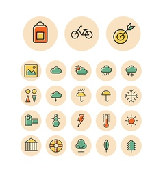 icons thin red leisure weather vector image