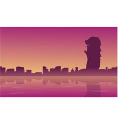 Landscape of singapore city skyline silhouettes vector