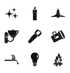 light source icon set simple style vector image vector image