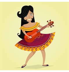 Mexican woman playing the guitar vector