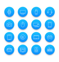 Modern gadgets icons set in line style vector