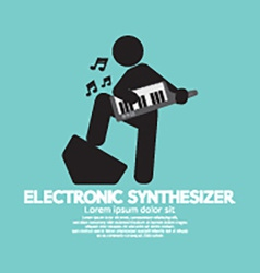Musician playing an electronic synthesizer vector