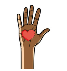 Nice hand up with heart in the palm vector
