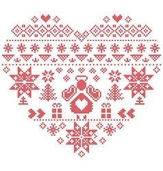 Nordic pattern in hearts shape with an angel vector