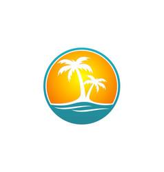 Palm tree beach travel logo vector