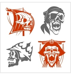 Pirate symbols - emblems set vector image vector image