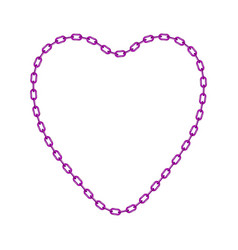 purple chain in shape of heart vector image vector image