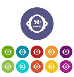 Sale label 50 percent off discount set icons vector image