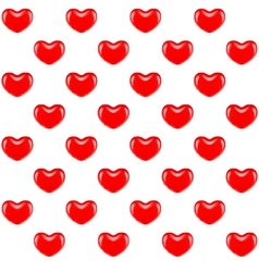 Seamless pattern of red hearts vector image