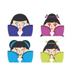 Set japanese women faces with expression vector