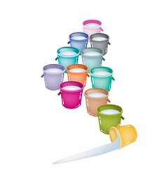 Set of Twelve Multicolored Buckets vector image vector image