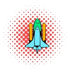 Space shuttle icon comics style vector
