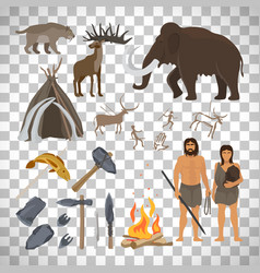 Stone age icons on transparent background vector