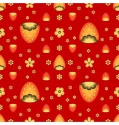 Strawberry fields in Khokhloma folk style vector image