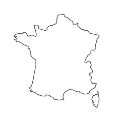 the france map of black contour curves of vector image