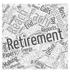The joy of retirement word cloud concept vector