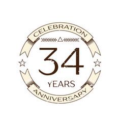 thirty four years anniversary celebration logo vector image