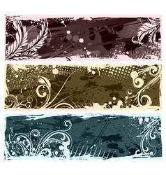 Vintage floral banners set vector