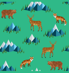 Wild animals and mountains vector