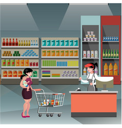 woman in supermarket with casher girl vector image