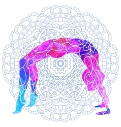 Yoga pose over ornate round mandala pattern vector