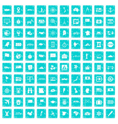 100 cartography icons set grunge blue vector