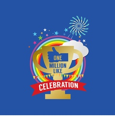 One million likes celebration vector