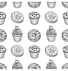 Seamless pattern with pastry sweets vector