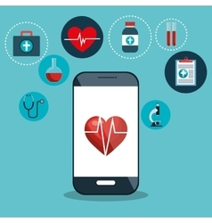 Digital healthcare cardio app graphic design vector