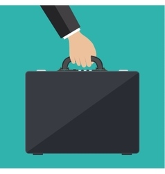 businessman hand holding leather briefcase vector image