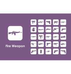 Set of firearms simple icons vector