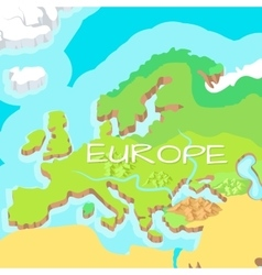 Europe mainland cartoon relief map vector