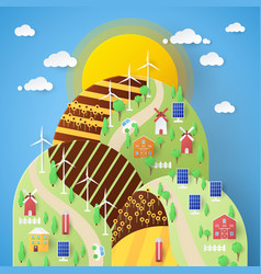 Landscape eco technology with windmills vector